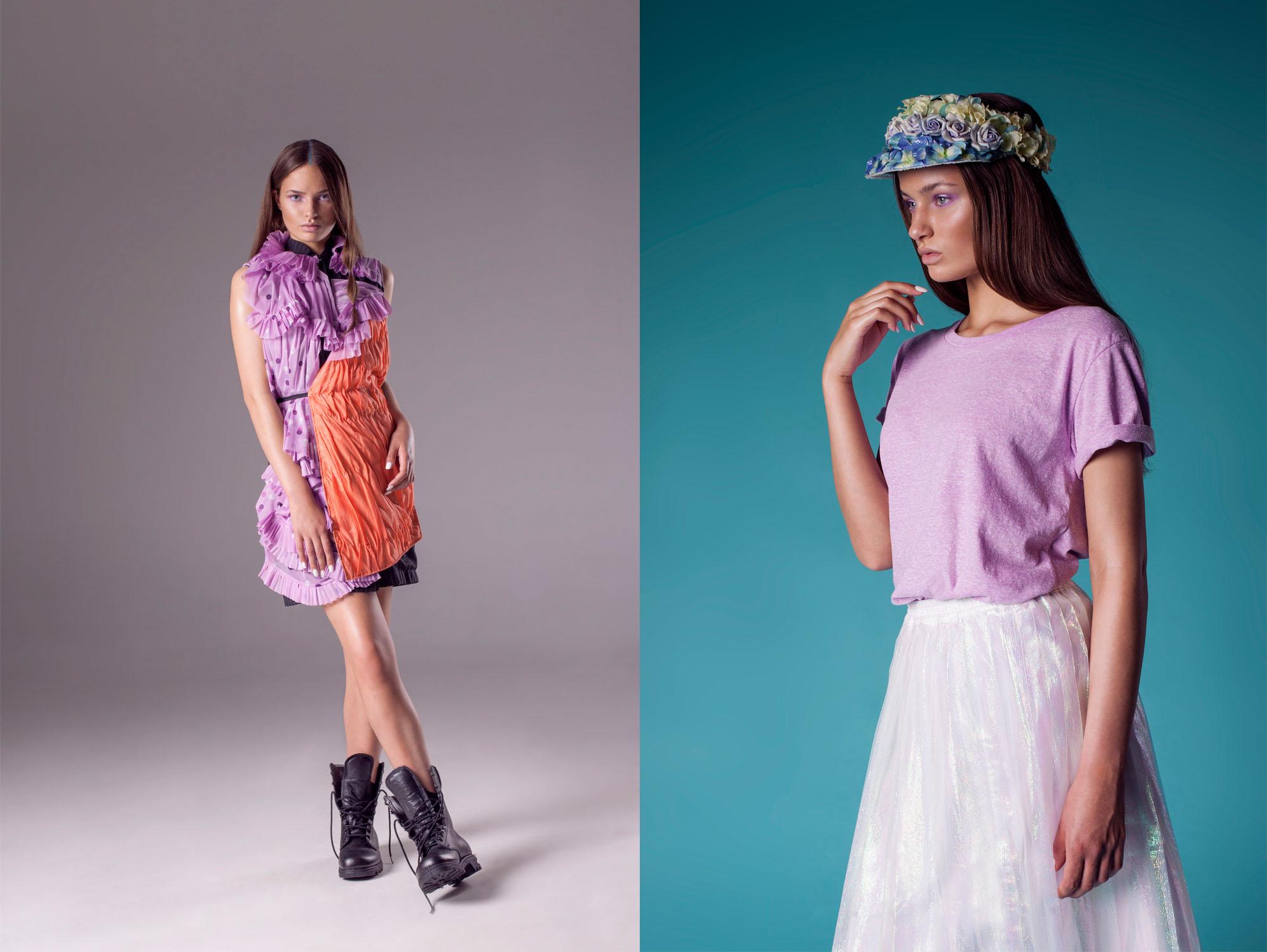 L: Dress Anne van de Boogaard; R: Flower cap Anne van de Boogaard, T-shirt Monki, Skirt: Monki